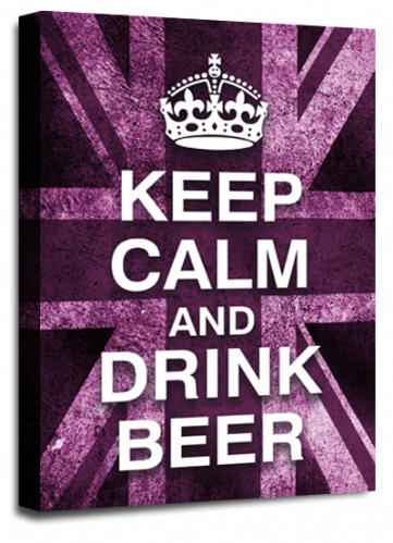 Keep Calm Drink Beer Purple White Wall Art British Flag